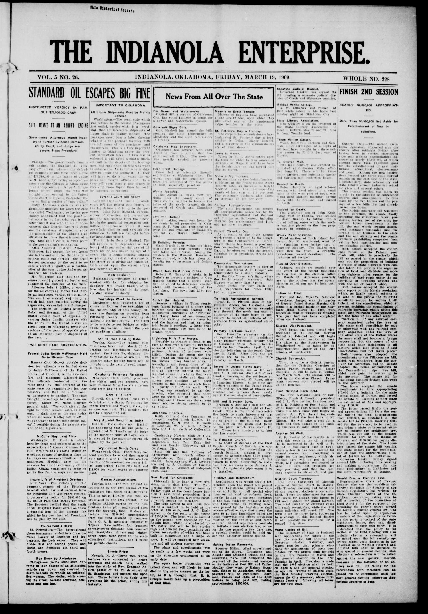 The Indianola Enterprise. (Indianola, Okla.), Vol. 5, No. 26, Ed. 1 Friday, March 19, 1909                                                                                                      [Sequence #]: 1 of 8
