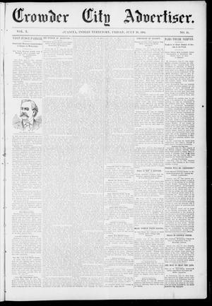 Primary view of object titled 'Crowder City Advertiser. (Juanita, Indian Terr.), Vol. 10, No. 51, Ed. 1 Friday, July 29, 1904'.