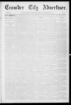 Primary view of object titled 'Crowder City Advertiser. (Juanita, Indian Terr.), Vol. 11, No. 6, Ed. 1 Friday, September 16, 1904'.