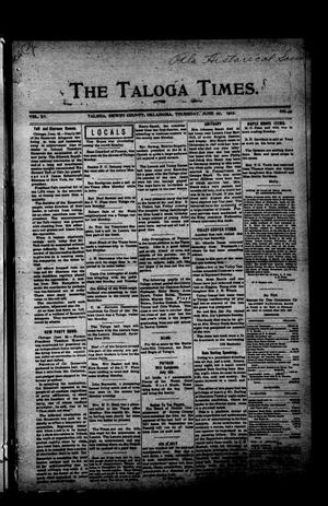 Primary view of object titled 'The Taloga Times. (Taloga, Okla.), Vol. 15, No. 49, Ed. 1 Thursday, June 27, 1912'.