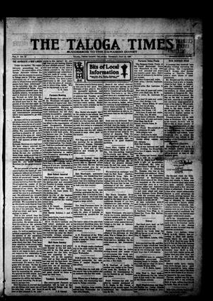 Primary view of object titled 'The Taloga Times (Taloga, Okla.), Vol. 9, No. 15, Ed. 1 Thursday, July 15, 1920'.