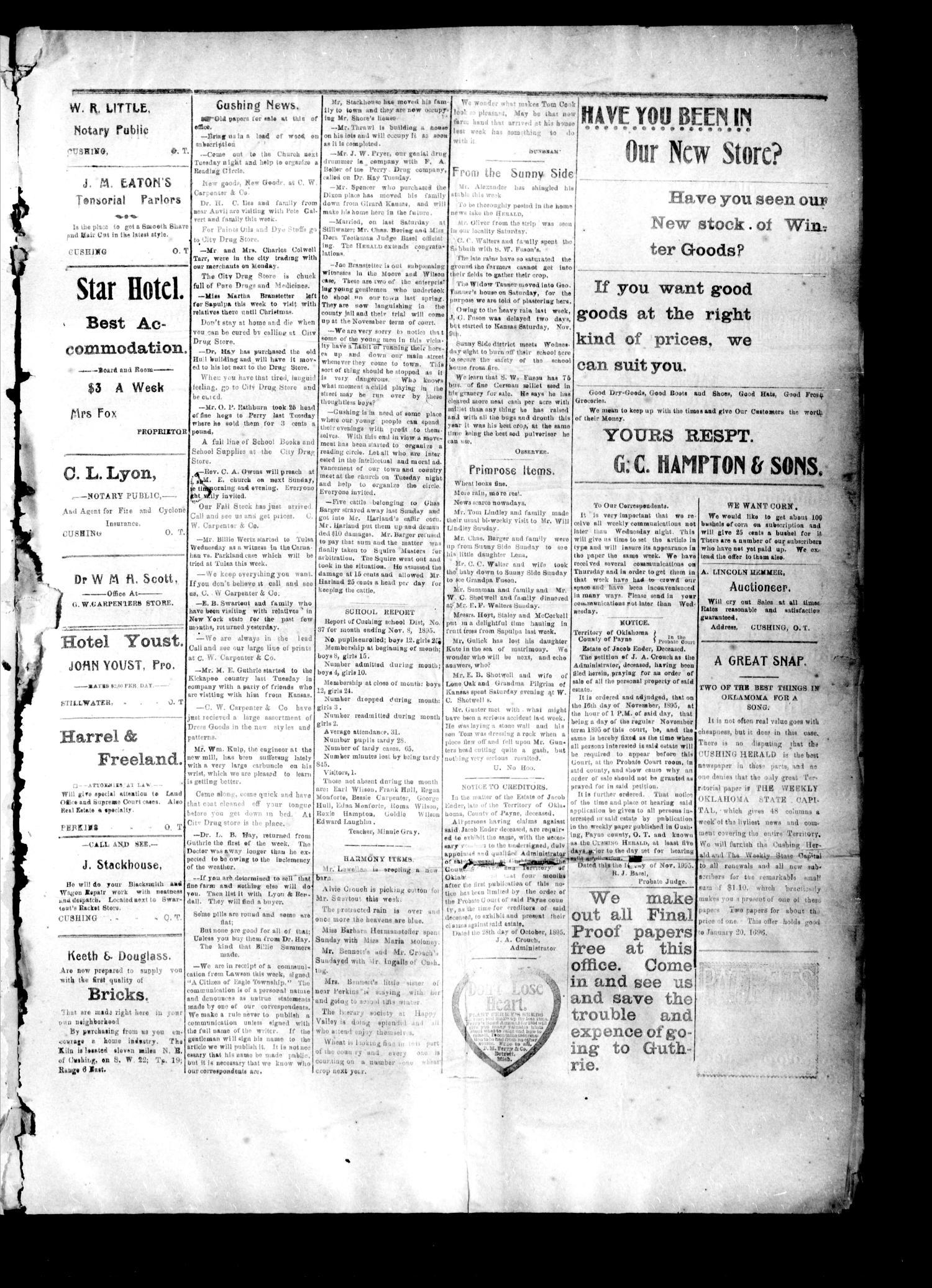 The Cushing Herald Cushing Okla Terr Vol 1 No 20 Ed 1