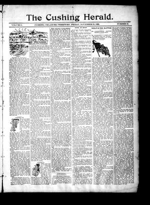 Primary view of object titled 'The Cushing Herald. (Cushing, Okla. Terr.), Vol. 1, No. 22, Ed. 1 Friday, November 29, 1895'.