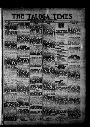 Primary view of object titled 'The Taloga Times (Taloga, Okla.), Vol. 9, No. 30, Ed. 1 Saturday, October 23, 1920'.