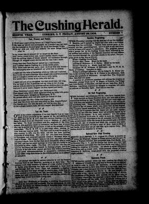 Primary view of object titled 'The Cushing Herald. (Cushing, Okla. Terr.), Vol. 8, No. 7, Ed. 1 Friday, August 22, 1902'.