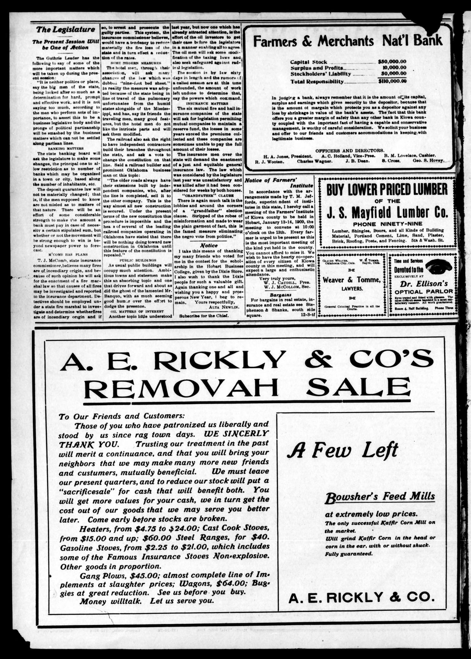 Hobart Weekly Chief (Hobart, Okla.), Vol. 8, No. 16, Ed. 1 Thursday, January 7, 1909                                                                                                      [Sequence #]: 2 of 7
