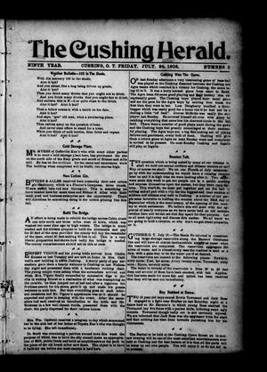 Primary view of object titled 'The Cushing Herald. (Cushing, Okla. Terr.), Vol. 9, No. 3, Ed. 1 Friday, July 24, 1903'.