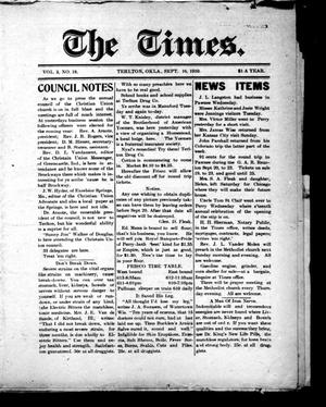 Primary view of object titled 'The Times. (Terlton, Okla.), Vol. 3, Ed. 1 Friday, September 16, 1910'.