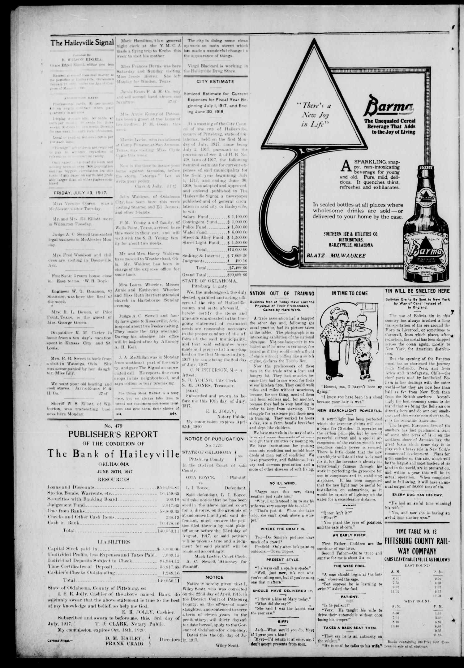 The Haileyville Signal (Haileyville, Okla.), Vol. 8, No. 35, Ed. 1 Friday, July 13, 1917                                                                                                      [Sequence #]: 2 of 4
