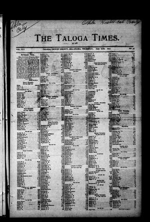 Primary view of object titled 'The Taloga Times. (Taloga, Okla.), Vol. 16, No. 39, Ed. 1 Thursday, July 17, 1913'.