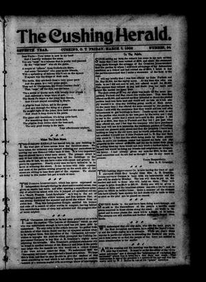 Primary view of object titled 'The Cushing Herald. (Cushing, Okla. Terr.), Vol. 7, No. 34, Ed. 1 Friday, March 7, 1902'.