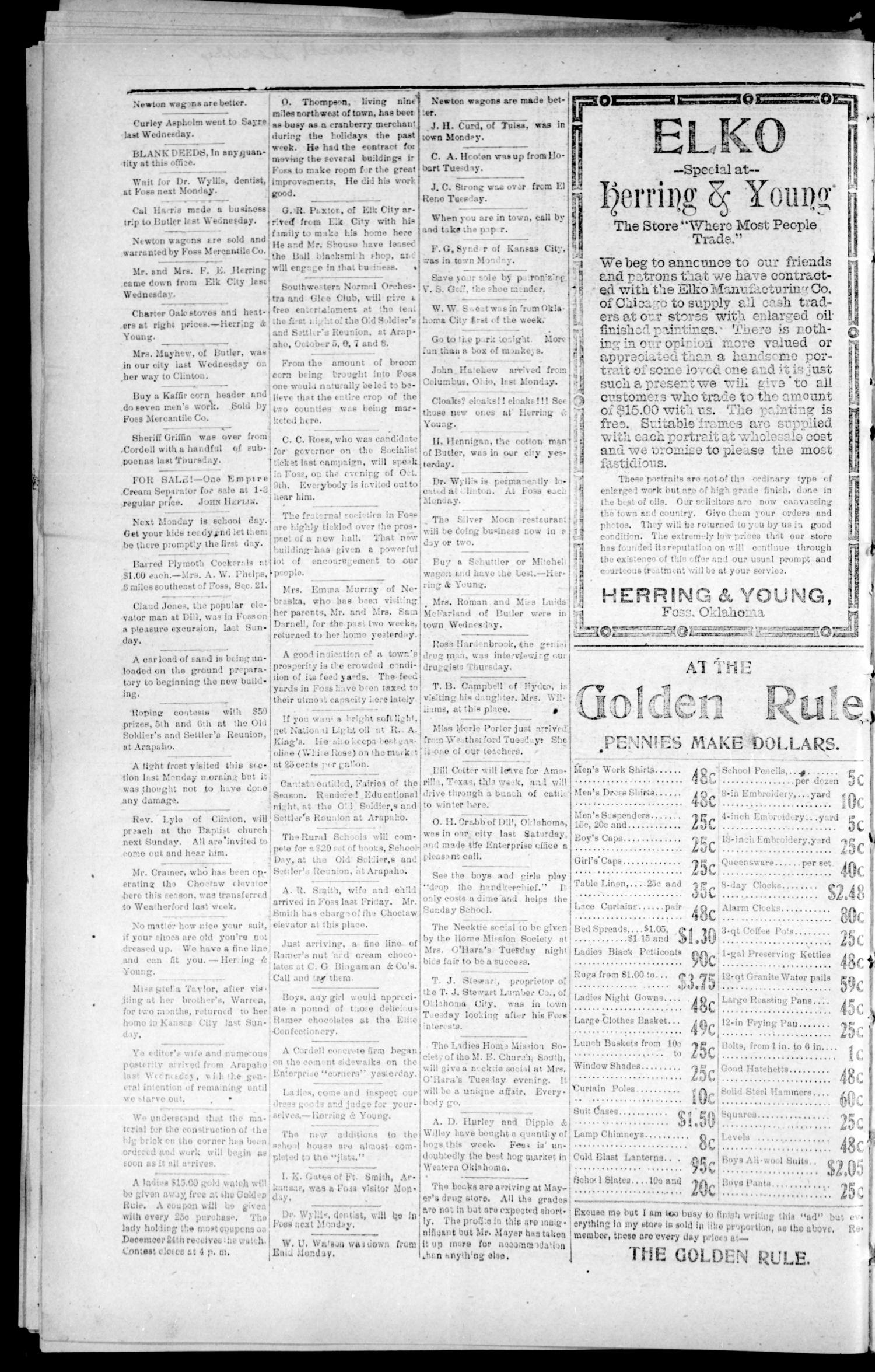 Foss Enterprise. (Foss, Okla.), Vol. 7, No. 47, Ed. 1 Friday, October 2, 1908                                                                                                      [Sequence #]: 4 of 4