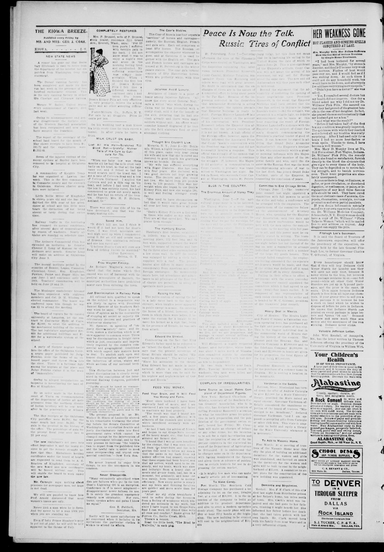 The Kiowa Breeze. (Kiowa, Indian Terr.), Vol. 4, No. 9, Ed. 1 Friday, June 9, 1905                                                                                                      [Sequence #]: 2 of 4