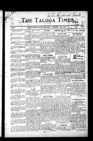 Primary view of The Taloga Times. (Taloga, Okla.), Vol. 16, No. 31, Ed. 1 Thursday, May 22, 1913