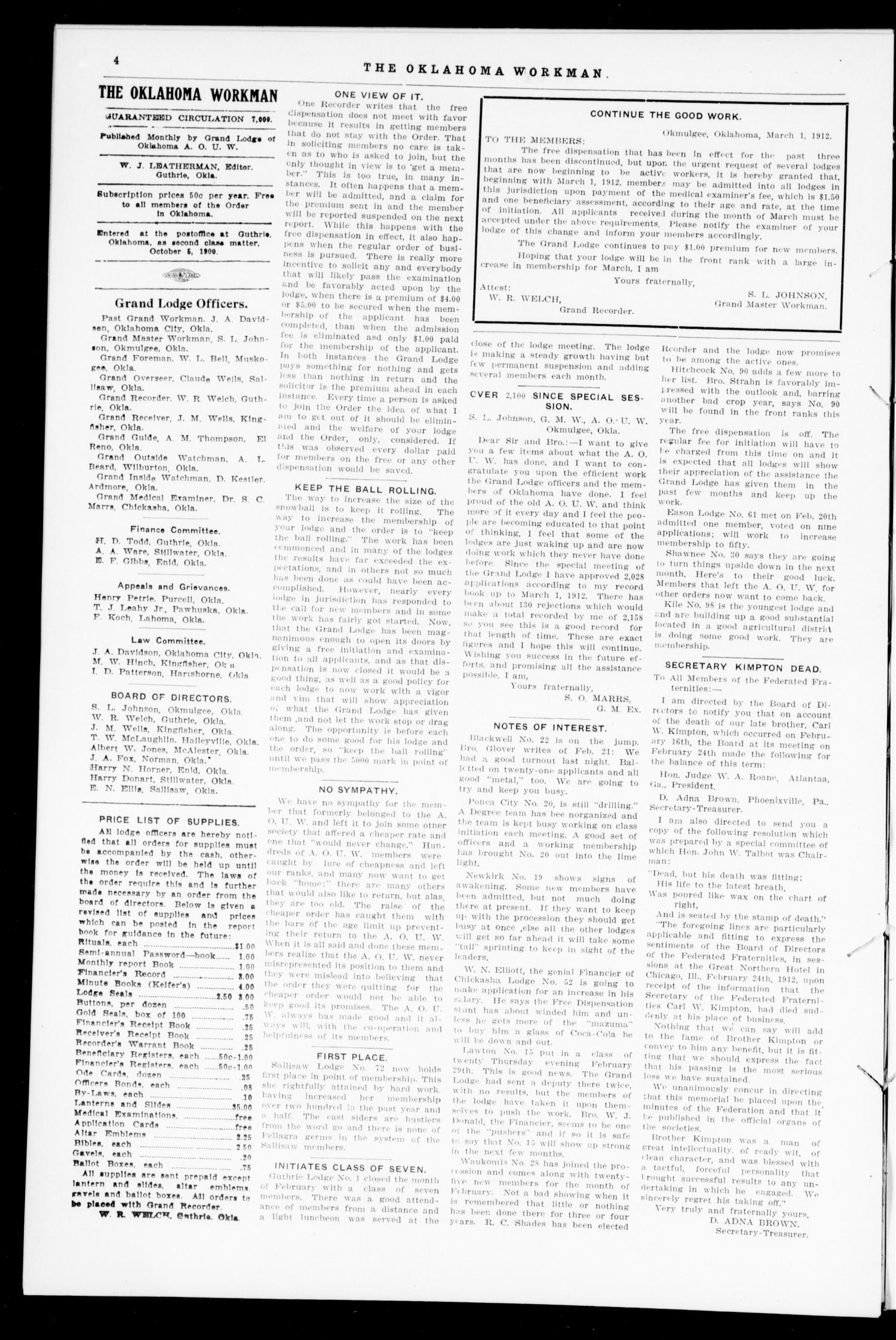 The Oklahoma Workman (Guthrie, Okla.), Vol. 17, No. 3, Ed. 1 Friday, March 1, 1912                                                                                                      [Sequence #]: 4 of 8