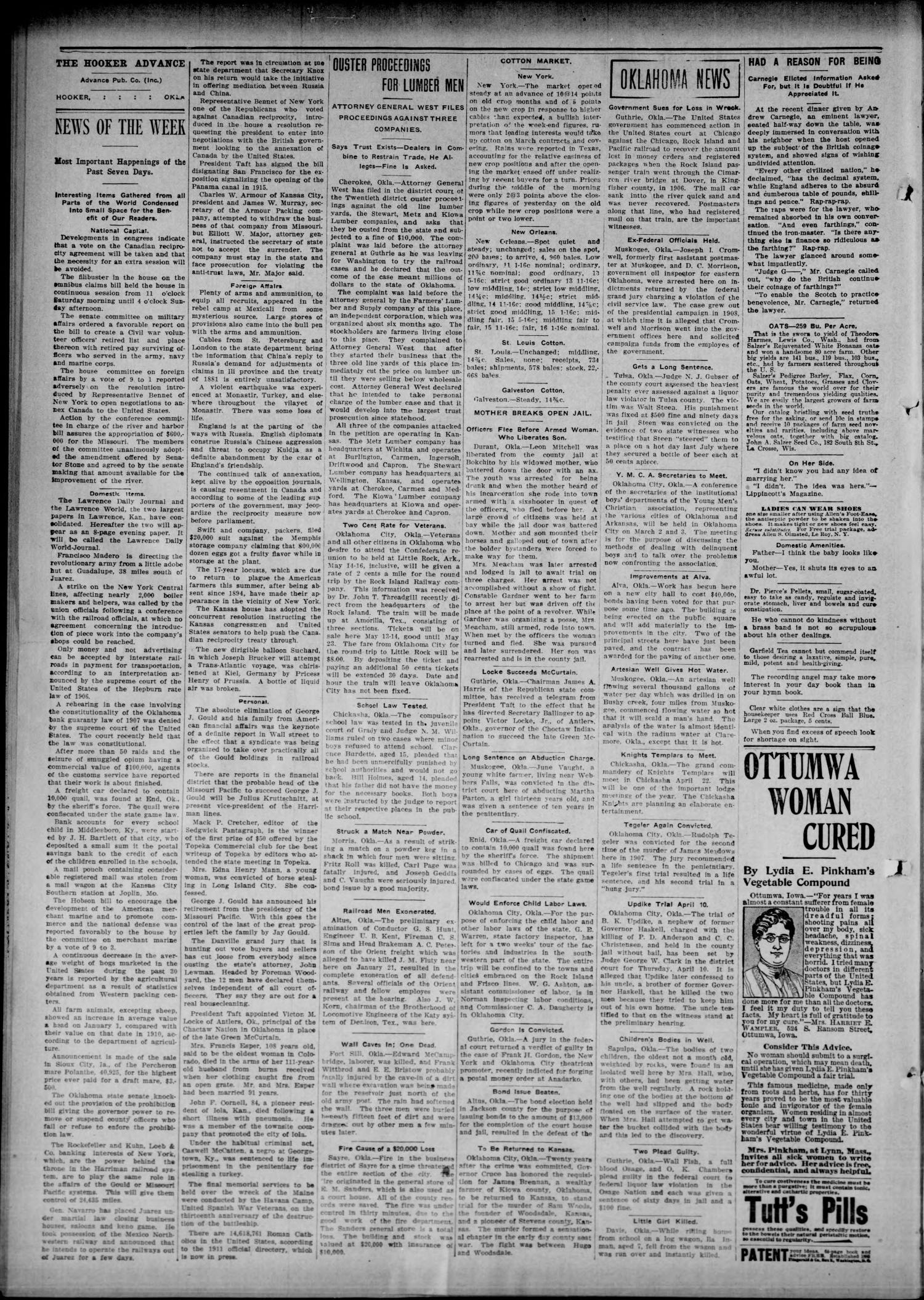 Hooker Advance (Hooker, Okla.), Vol. 8, No. 4, Ed. 1 Friday, March 3, 1911                                                                                                      [Sequence #]: 2 of 8