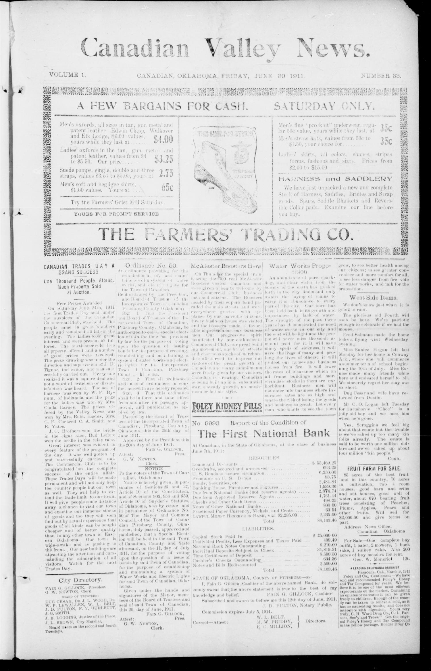 Canadian Valley News. (Canadian, Oklahoma), Vol. 1, No. 33, Ed. 1 Tuesday, June 20, 1911                                                                                                      [Sequence #]: 1 of 8