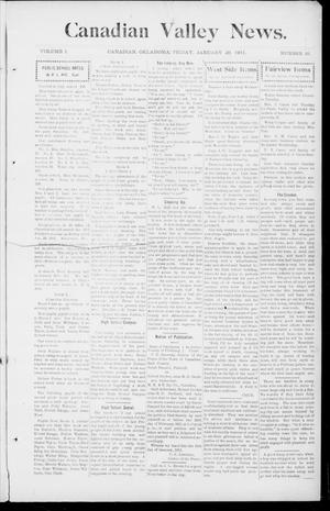Primary view of object titled 'Canadian Valley News. (Canadian, Oklahoma), Vol. 1, No. 10, Ed. 1 Friday, January 20, 1911'.