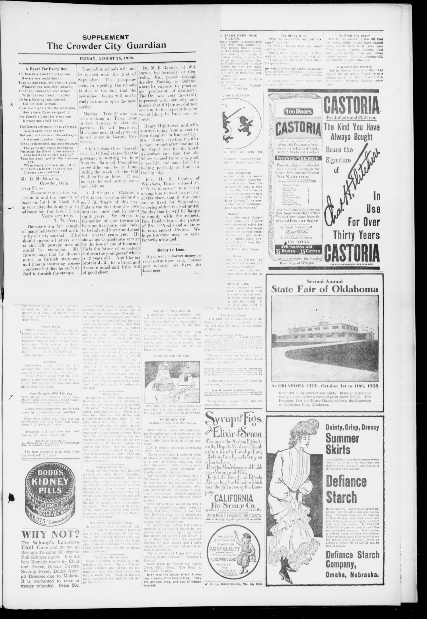 The Crowder City Guardian (Crowder, Oklahoma), Vol. 3, No. 43, Ed. 1 Friday, August 28, 1908                                                                                                      [Sequence #]: 3 of 6