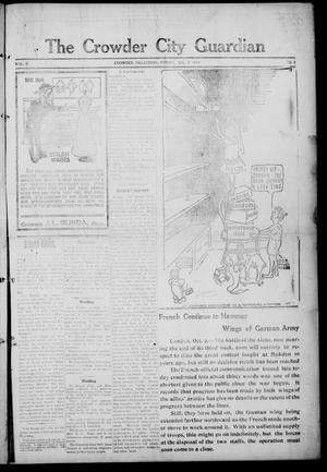 Primary view of object titled 'The Crowder City Guardian (Crowder, Oklahoma), Vol. 10, No. 2, Ed. 1 Friday, October 2, 1914'.