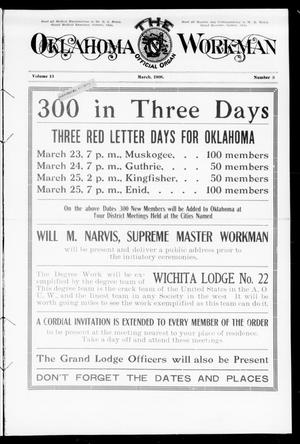 Primary view of object titled 'The Oklahoma Workman (Guthrie, Okla.), Vol. 13, No. 3, Ed. 1 Sunday, March 1, 1908'.
