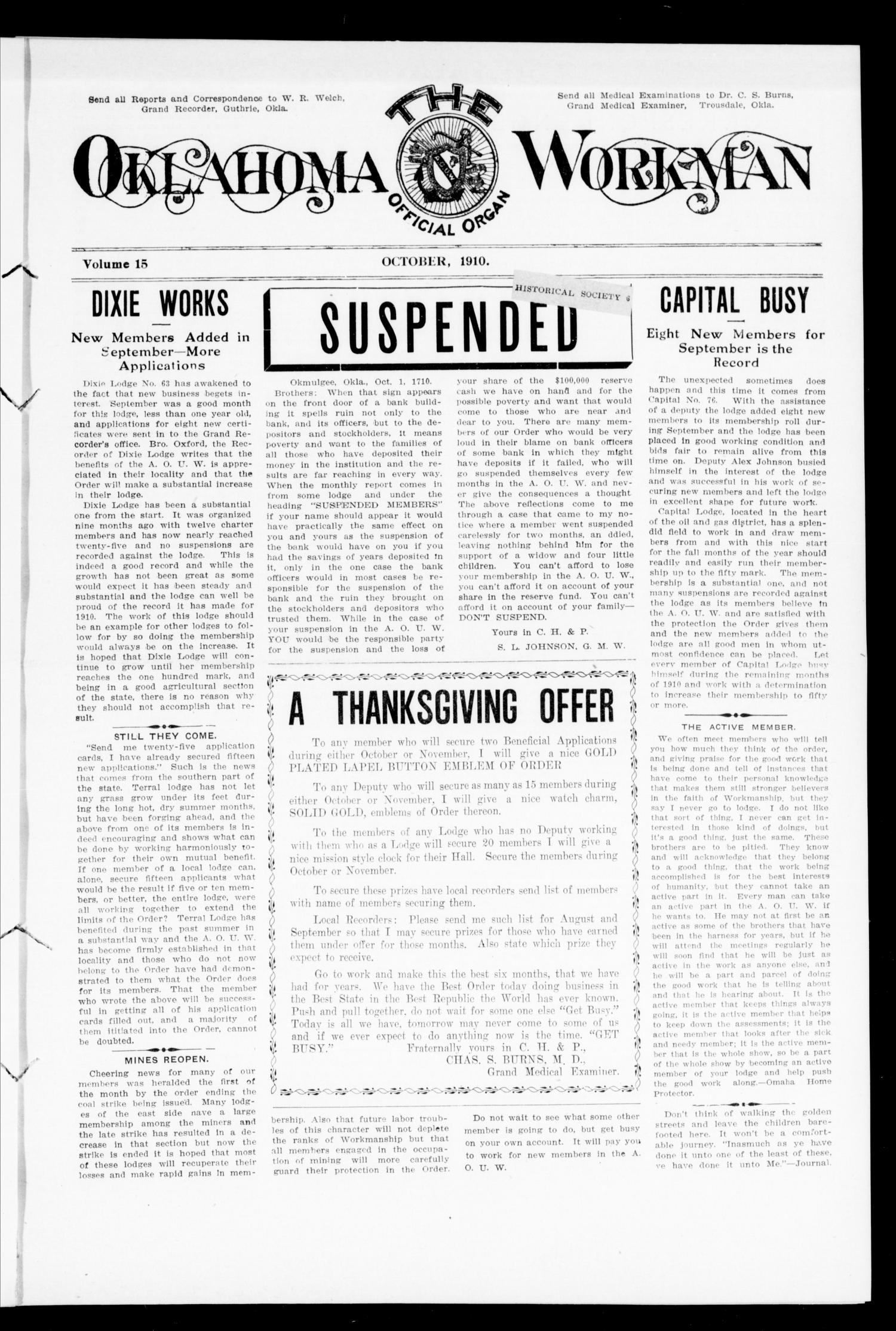 The Oklahoma Workman (Guthrie, Okla.), Vol. 15, No. 10, Ed. 1 Saturday, October 1, 1910                                                                                                      [Sequence #]: 1 of 8