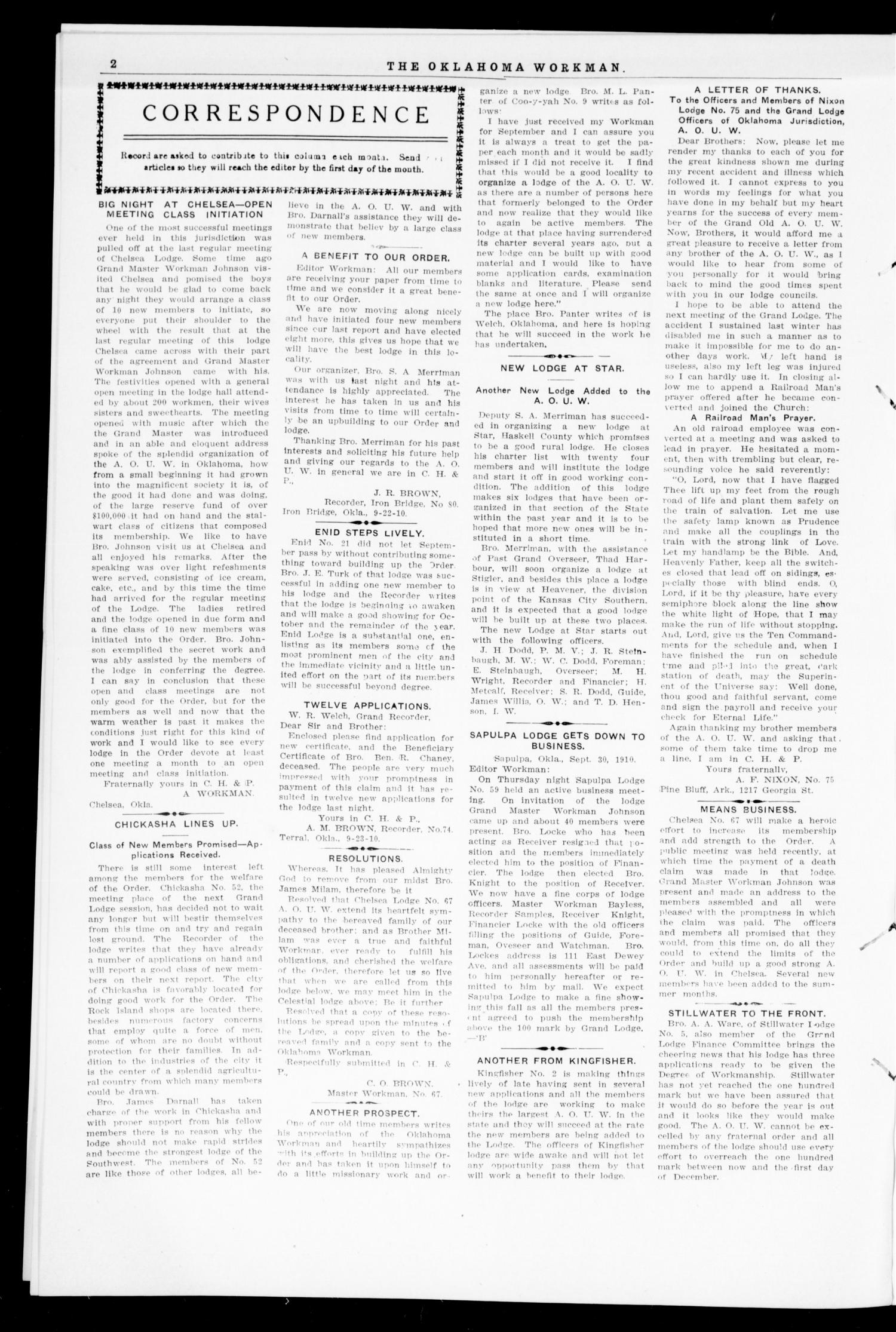 The Oklahoma Workman (Guthrie, Okla.), Vol. 15, No. 10, Ed. 1 Saturday, October 1, 1910                                                                                                      [Sequence #]: 2 of 8