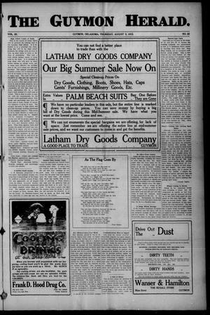 Primary view of The Guymon Herald. (Guymon, Okla.), Vol. 25, No. 22, Ed. 1 Thursday, August 5, 1915