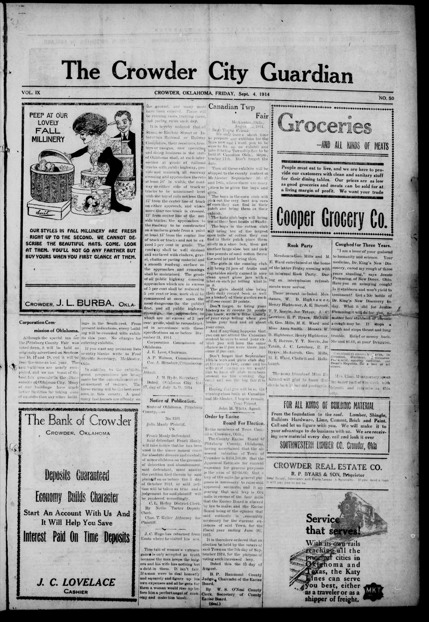 The Crowder City Guardian (Crowder, Oklahoma), Vol. 9, No. 50, Ed. 1 Friday, September 4, 1914                                                                                                      [Sequence #]: 1 of 8