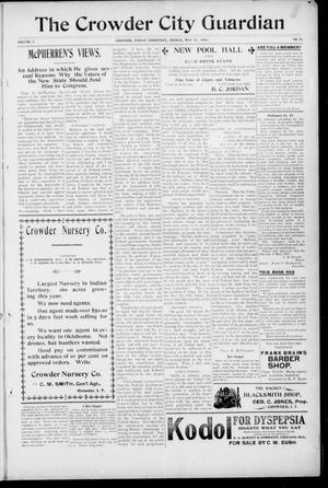 Primary view of The Crowder City Guardian (Crowder, Indian Terr.), Vol. 2, No. 25, Ed. 1 Friday, May 31, 1907