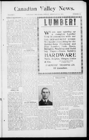 Primary view of object titled 'Canadian Valley News. (Canadian, Oklahoma), Vol. 1, No. 13, Ed. 1 Friday, February 10, 1911'.