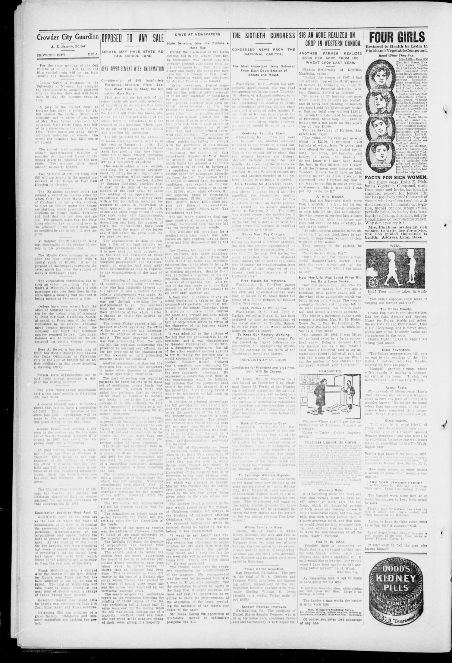 The Crowder City Guardian (Crowder, Oklahoma), Vol. 3, No. 17, Ed. 1 Friday, April 3, 1908                                                                                                      [Sequence #]: 2 of 4
