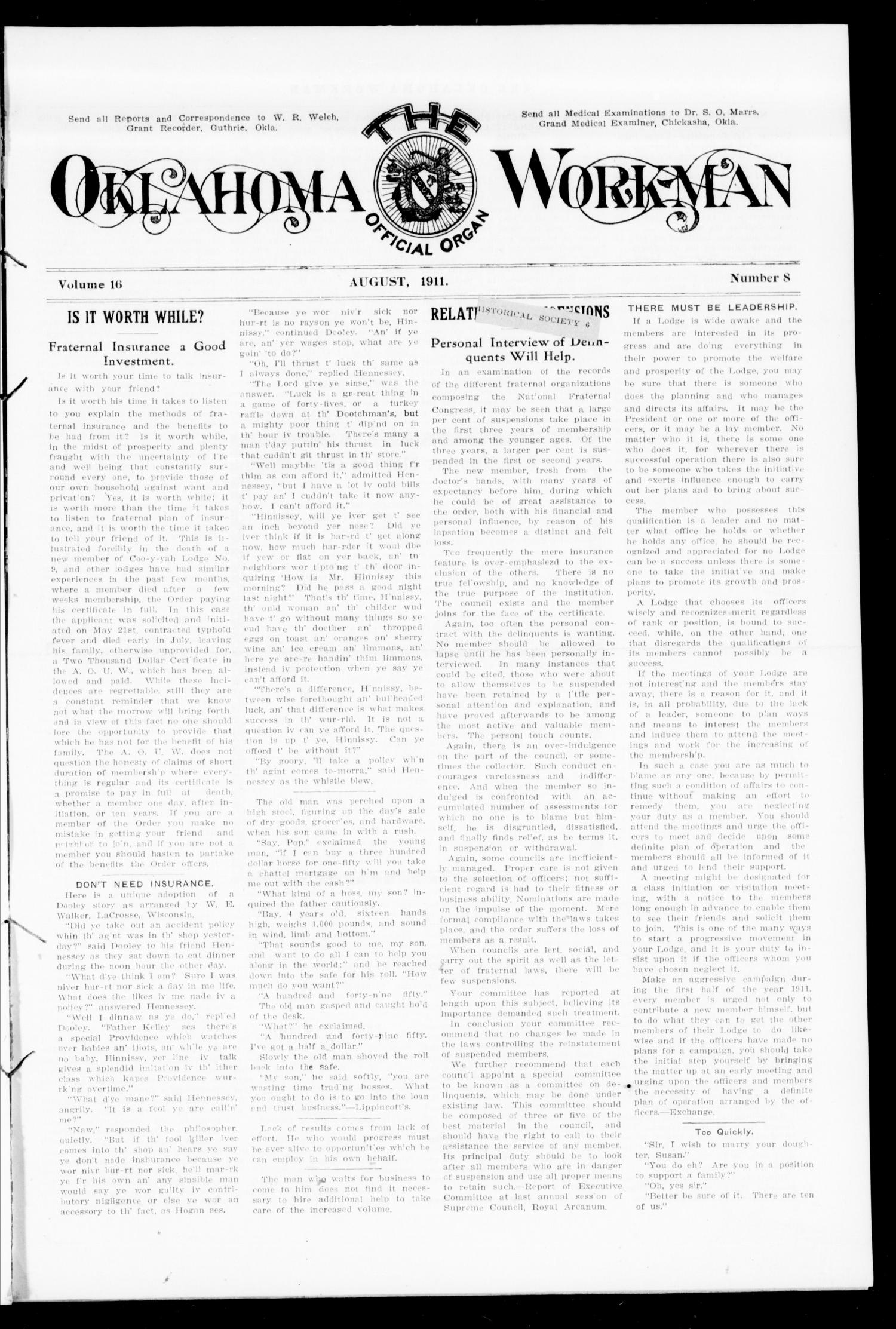 The Oklahoma Workman (Guthrie, Okla.), Vol. 16, No. 8, Ed. 1 Tuesday, August 1, 1911                                                                                                      [Sequence #]: 1 of 8