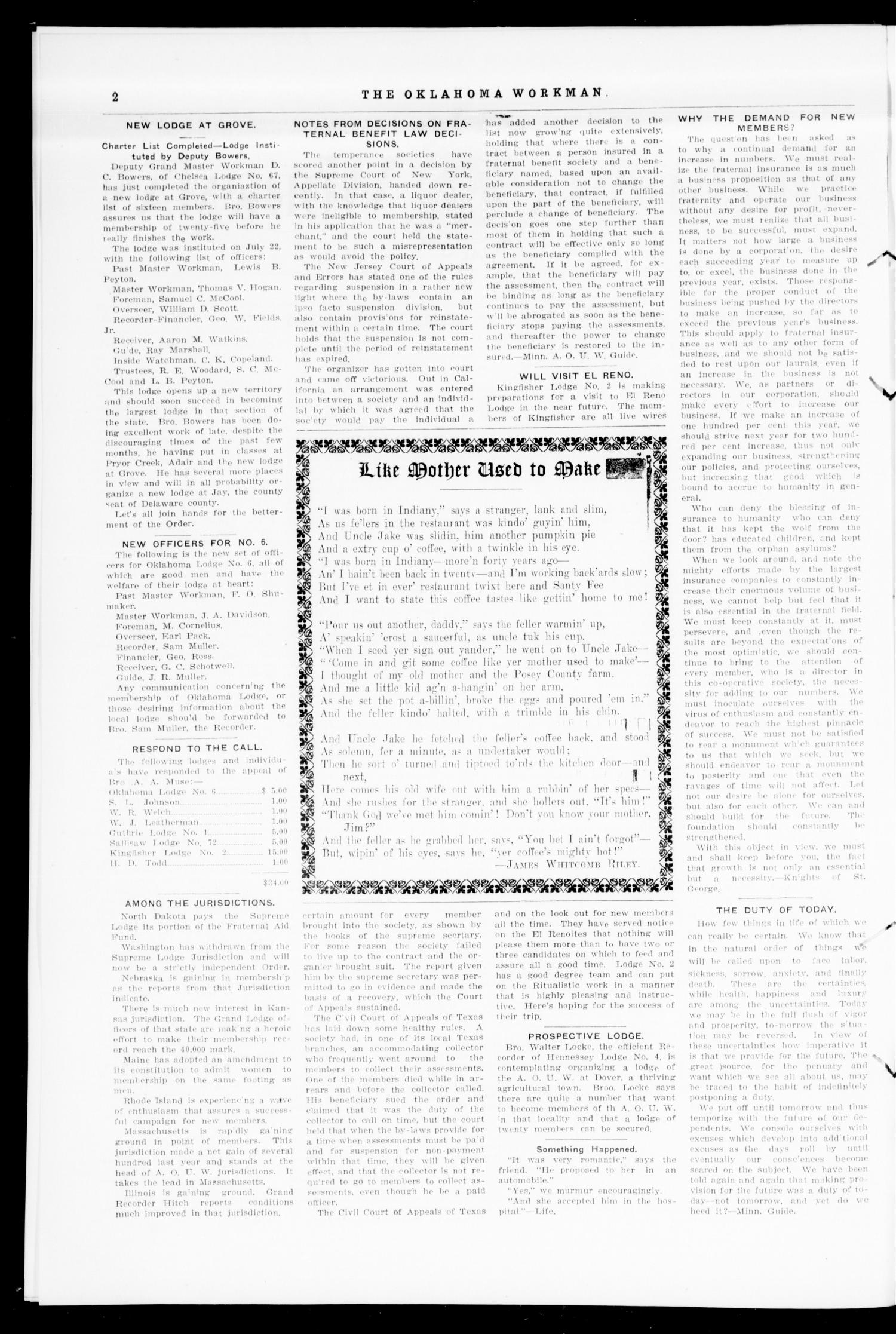 The Oklahoma Workman (Guthrie, Okla.), Vol. 16, No. 8, Ed. 1 Tuesday, August 1, 1911                                                                                                      [Sequence #]: 2 of 8