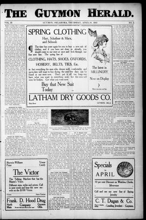 Primary view of object titled 'The Guymon Herald. (Guymon, Okla.), Vol. 23, No. 5, Ed. 1 Thursday, April 10, 1913'.