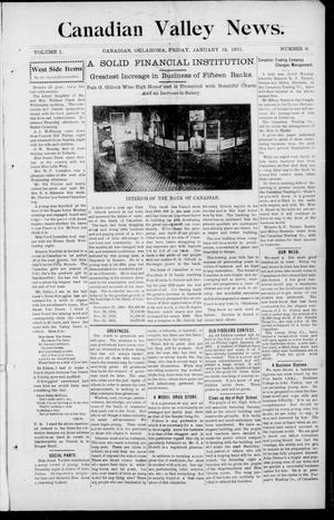 Primary view of object titled 'Canadian Valley News. (Canadian, Oklahoma), Vol. 1, No. 9, Ed. 1 Friday, January 13, 1911'.