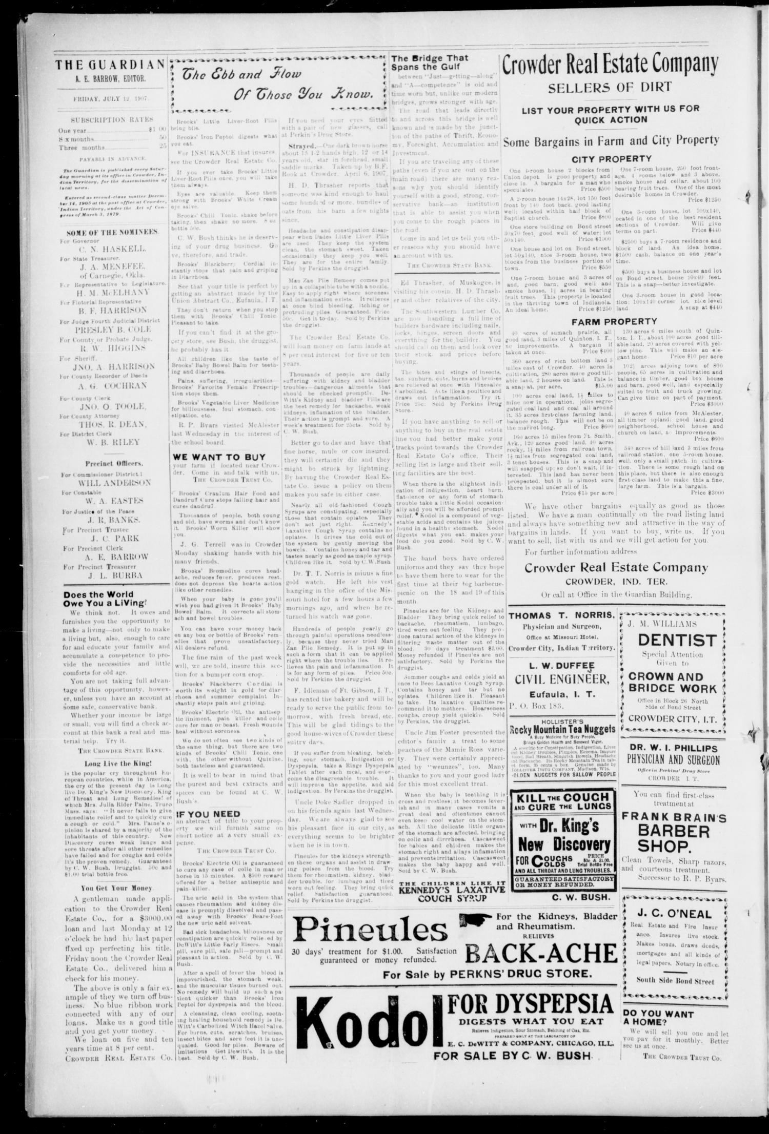 The Crowder City Guardian (Crowder, Indian Terr.), Vol. 2, No. 31, Ed. 1 Friday, July 12, 1907                                                                                                      [Sequence #]: 4 of 4