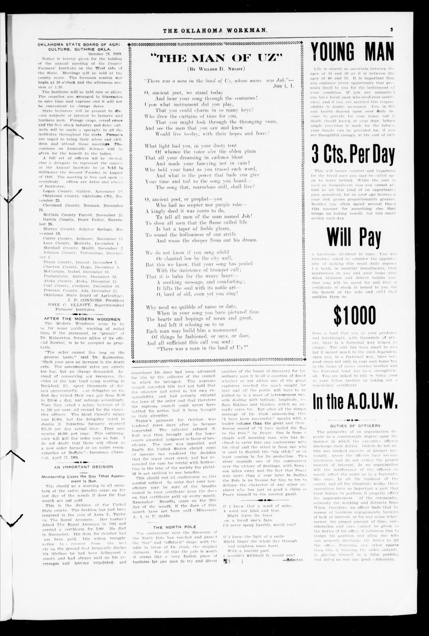 The Oklahoma Workman (Guthrie, Okla.), Vol. 14, No. 11, Ed. 1 Monday, November 1, 1909                                                                                                      [Sequence #]: 3 of 8