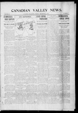 Primary view of object titled 'Canadian Valley News. (Canadian, Oklahoma), Vol. 2, No. 3, Ed. 1 Friday, December 1, 1911'.