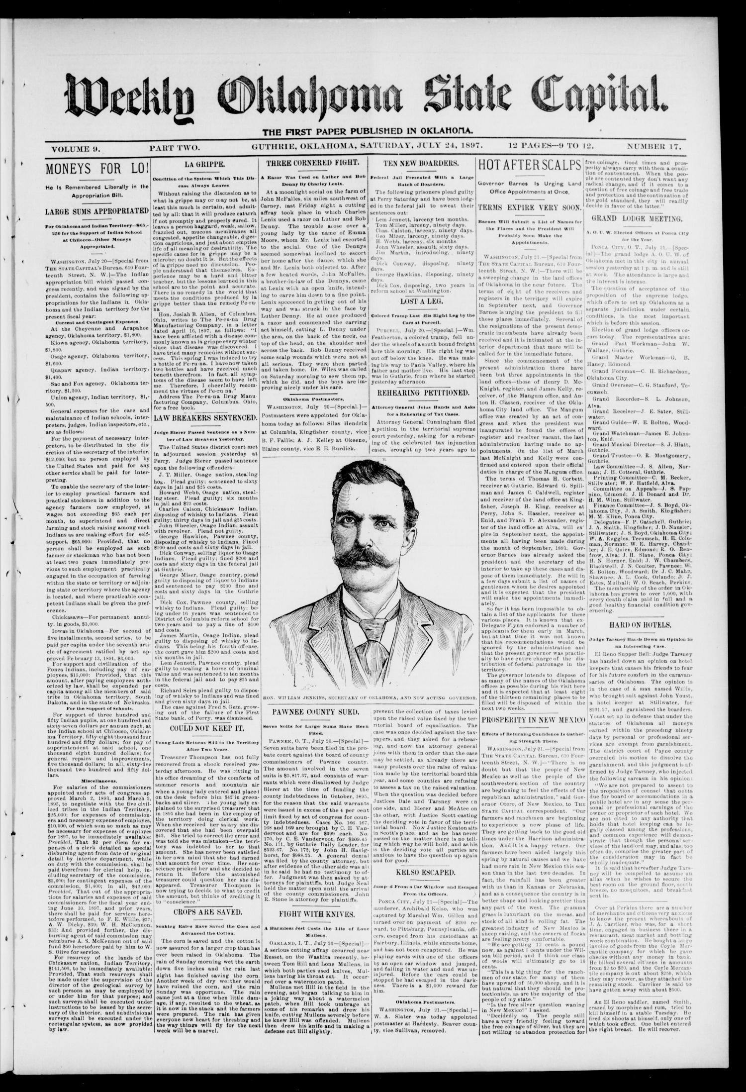 Weekly Oklahoma State Capital. (Guthrie, Okla.), Vol. 9, No. 17, Ed. 2 Saturday, July 24, 1897                                                                                                      [Sequence #]: 1 of 4