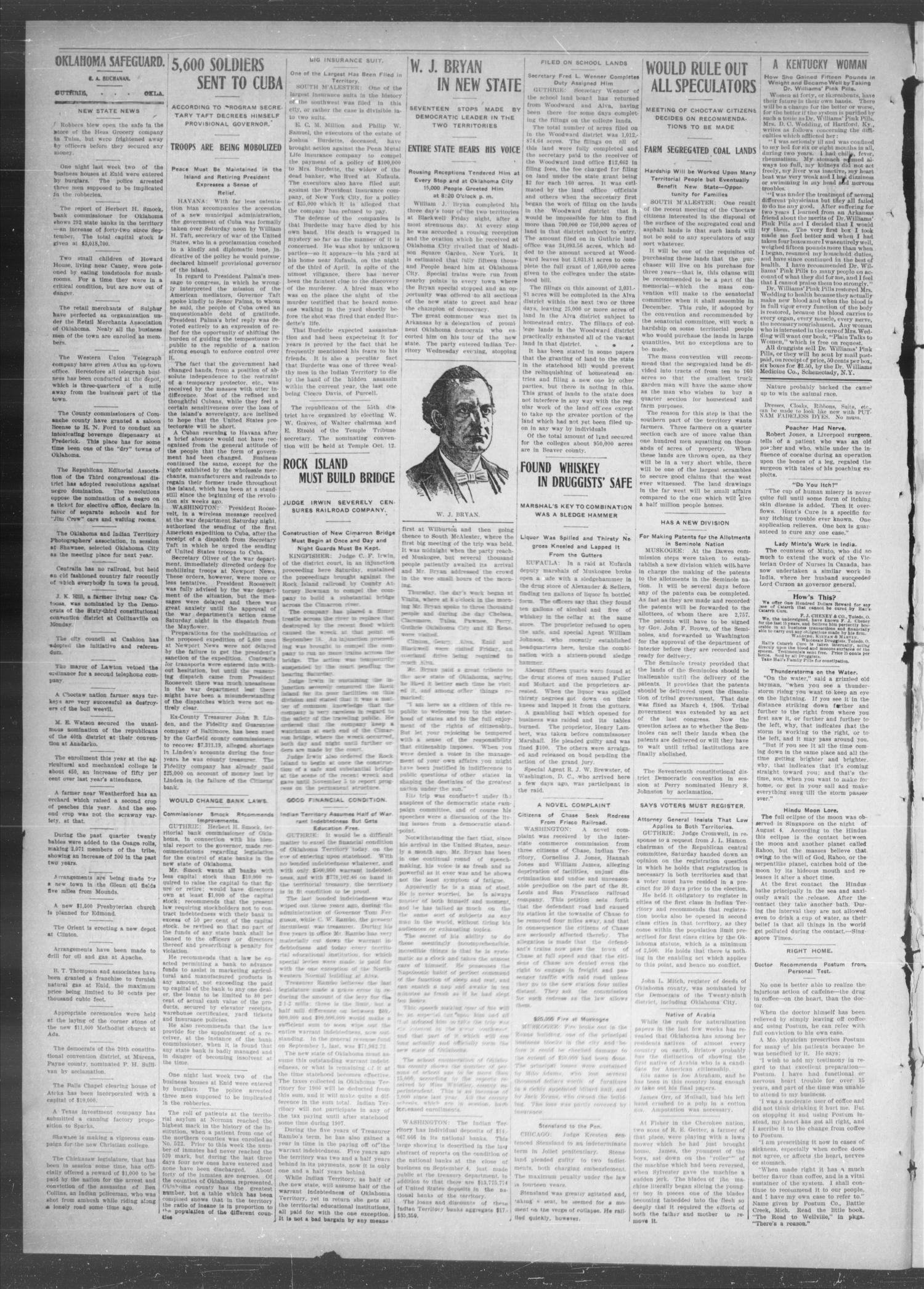 The Oklahoma Safeguard. (Guthrie, Okla.), Vol. 13, No. 36, Ed. 1 Thursday, October 4, 1906                                                                                                      [Sequence #]: 2 of 4
