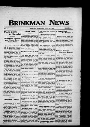 Primary view of object titled 'Brinkman News (Brinkman, Okla.), Vol. 1, No. 14, Ed. 1 Friday, September 23, 1910'.
