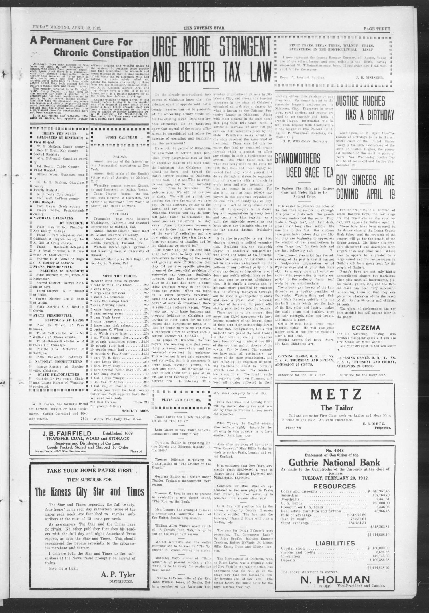 The Guthrie Daily Star (Guthrie, Okla.), Vol. 9, No. 28, Ed. 1 Friday, April 12, 1912                                                                                                      [Sequence #]: 3 of 16