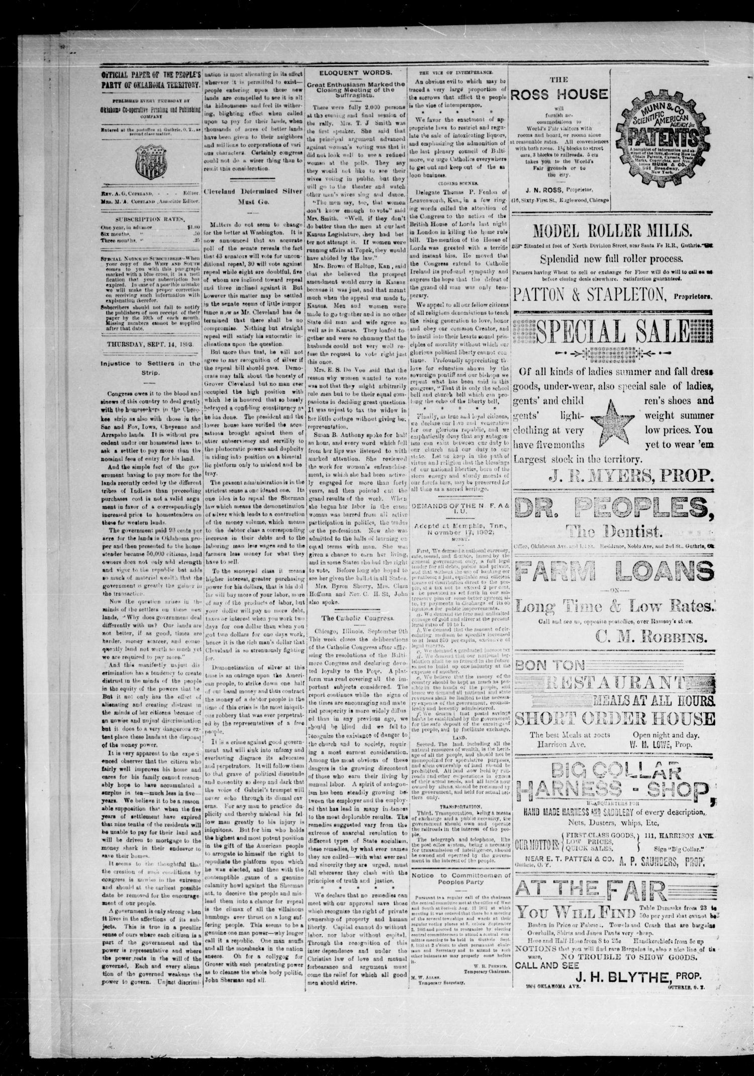 West and South. (Guthrie, Okla.), Vol. 2, No. 45, Ed. 1 Thursday, September 14, 1893                                                                                                      [Sequence #]: 2 of 4