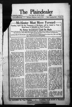 Primary view of object titled 'The Plaindealer (McAlester, Okla.), Vol. 2, No. 38, Ed. 1 Thursday, April 2, 1914'.