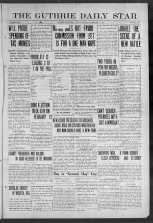Primary view of object titled 'The Guthrie Daily Star (Guthrie, Okla.), Vol. 8, No. 282, Ed. 1 Friday, February 2, 1912'.