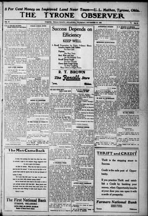 Primary view of The Tyrone Observer (Tyrone, Okla.), Vol. 19, No. 24, Ed. 1 Thursday, November 23, 1922