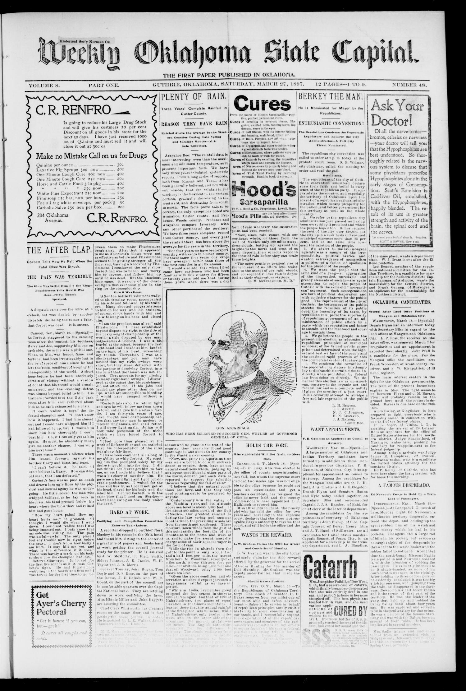 Weekly Oklahoma State Capital. (Guthrie, Okla.), Vol. 8, No. 48, Ed. 1 Saturday, March 27, 1897                                                                                                      [Sequence #]: 1 of 8