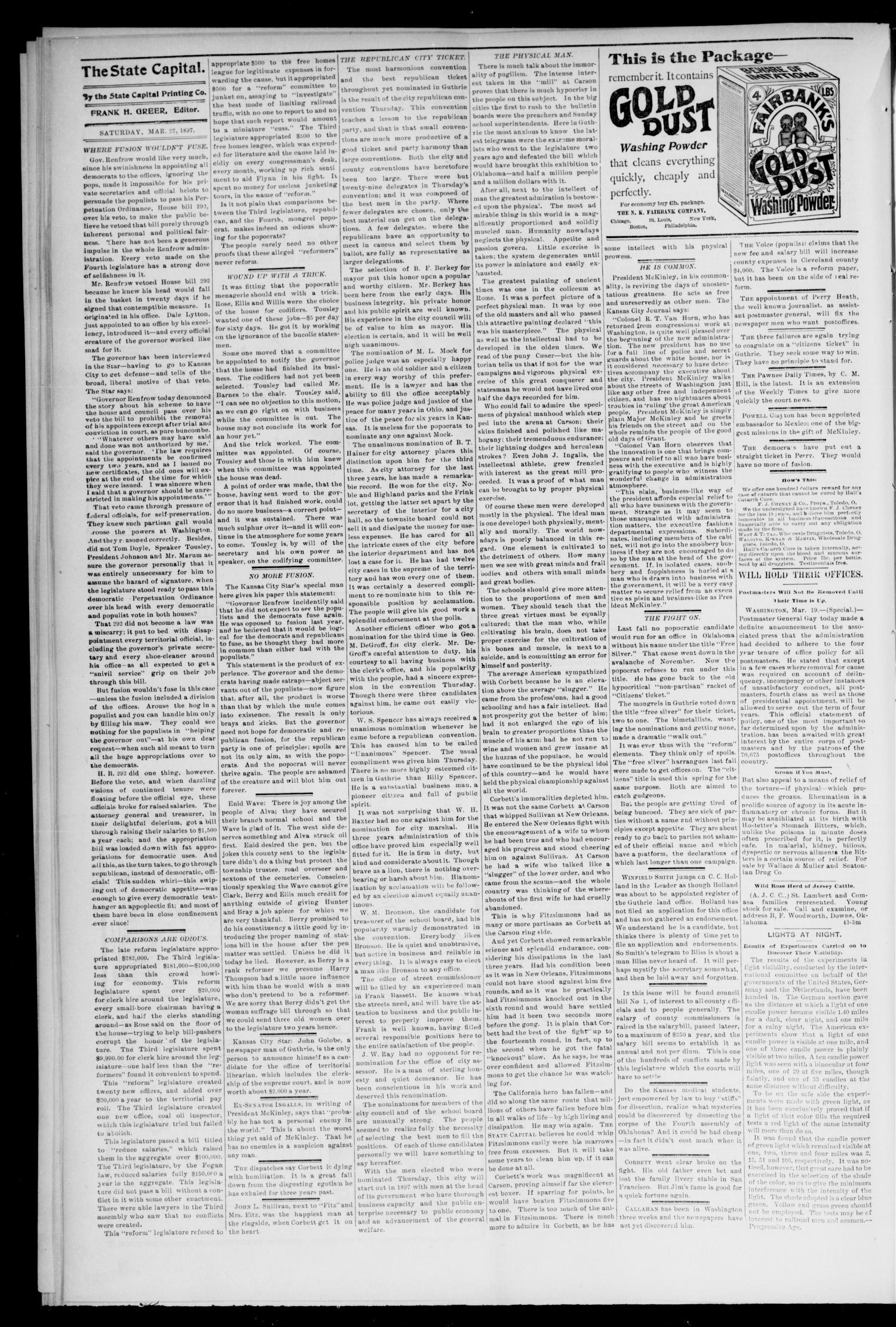 Weekly Oklahoma State Capital. (Guthrie, Okla.), Vol. 8, No. 48, Ed. 1 Saturday, March 27, 1897                                                                                                      [Sequence #]: 4 of 8