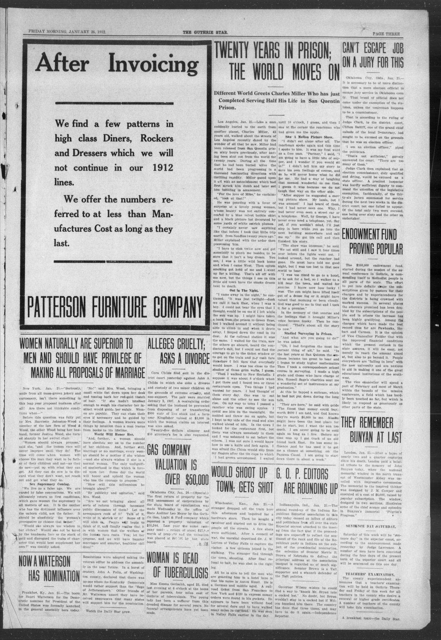 The Guthrie Daily Star (Guthrie, Okla.), Vol. 8, No. 276, Ed. 1 Friday, January 26, 1912                                                                                                      [Sequence #]: 3 of 8